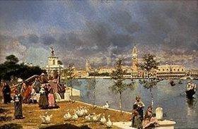 José Villegas y Cordero: Blick über die Lagune auf die Piazza San Marco, Venedig