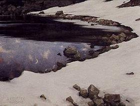 Alexander Koester: Mondschein am verschneiten Kassian-See
