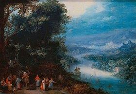 Jan Brueghel d.Ä.: Waldige Flusslandschaft mit Fahrweg
