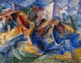 Umberto Boccioni: Reiter, Pferd und Häuser