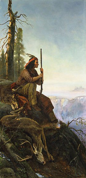 William Hahn: Das Signal-Feuer. (Indianer nach der Jagd)