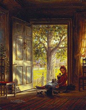 Edward Lamson Henry: In der Abendsonne mit den kleinen Katzen