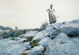 Winslow Homer: Junge Frau auf Felsen stehend