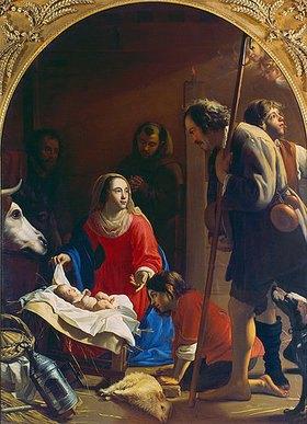 Jacob van Oost d.Ä.: Die Anbetung der Hirten. (Im Hintergrund der hl. Franz von Assisi). Um 1645