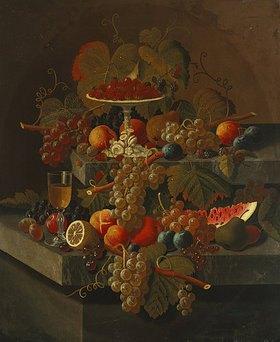 Severin Roesen: Stilleben mit Weintrauben und anderem Obst