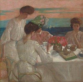 Frederick Karl Frieseke: Damen beim Nachmittagstee auf der Terrasse