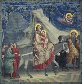 Giotto di Bondone: Die Flucht nach Ägypten. 1303/1305. Fresko