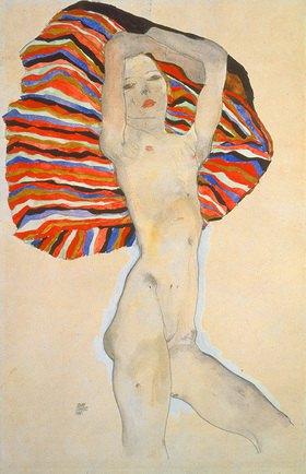 Egon Schiele: Akt gegen farbigen Stoff. 1911