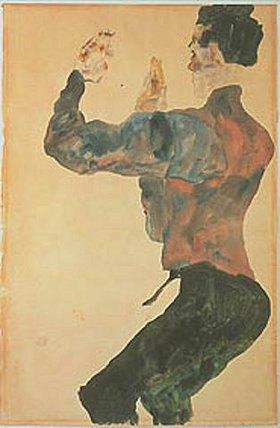 Egon Schiele: Selbstbildnis mit erhobenen Armen, Rückenansicht