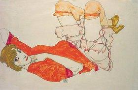Egon Schiele: Wally in roter Bluse mit erhobenen Knieen