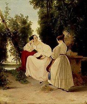 Carl Blechen: Zwei Damen im Park. Gegen