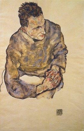 Egon Schiele: Bildnis Karl Grünwald mit verschränkten Händen