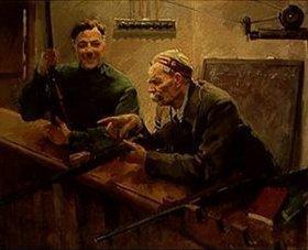 Wassilij Semjonowitsch Svarog: Klement Woroschilow und Maxim Gorki auf dem Schützenstand