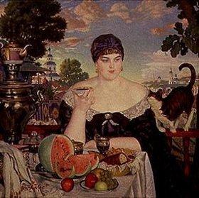 Boris Michailowitsch Kustodiev: Eine russische Marktfrau beim Teetrinken
