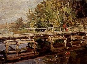 Alexejew. Konstantin Korovin: Holzbrücke im Herbst