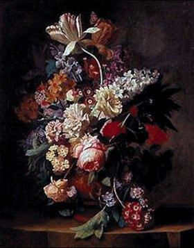 Jan van Huysum: Blumenstrauss in einer Tonvase