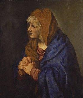 Tizian (Tiziano Vecellio): Mater Dolorosa mit gefalteten Händen. 1550(?)