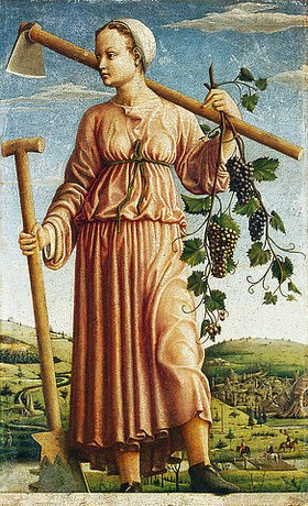Ferraresischer Meister: Die Muse Polyhymnia als Erfinderin des Ackerbaus