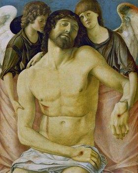 Giovanni Bellini: Der tote Christus, von zwei trauernden Engeln, gestützt