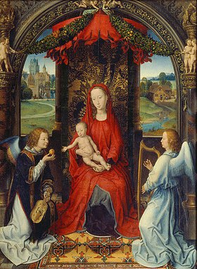 Hans Memling: Madonna mit Kind und zwei Engeln