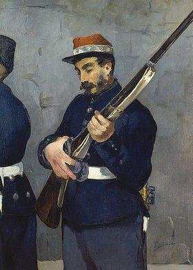 Edouard Manet: Die Erschiessung Kaiser Maximilians von Mexico 1867. Detail: Soldat mit Gewehr