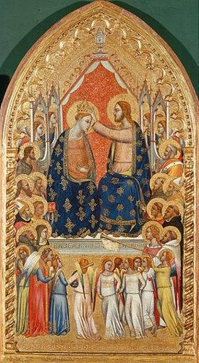 Florentinisch: Krönung Marias mit Engeln und Heiligen