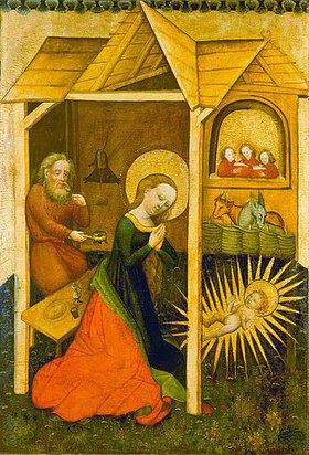 unbekannter deutscher Meister: Tafelbild aus Werningsleben: Maria, Josef und das Christkind im Stall