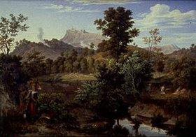 Joseph Anton Koch: Landschaft mit bäuerlichen Szenen bei Paliano