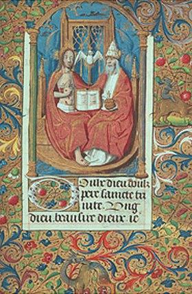 Handschrift: Dreifaltigkeit. Aus einem französischen Stundenbuch. Memb.II 176, 234v