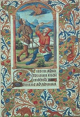 Handschrift: Hirtenverkündigung. Aus einem französ. Stundenbuch. Memb.II 176, 106v