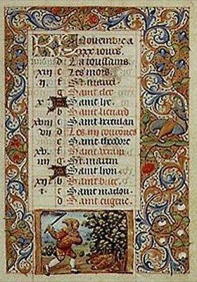 Handschrift: Der November. Aus einem französischen Stundenbuch. Memb.II 176 11v