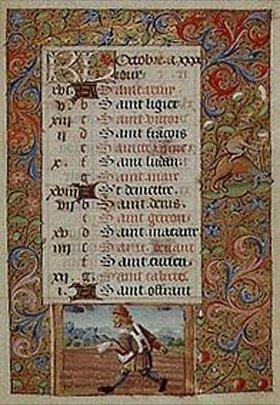 Handschrift: Der Oktober. Aus einem französischen Stundenbuch. Memb.II 176, 10v