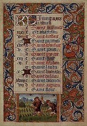 Handschrift: Der Juni. Aus einem französischen Stundenbuch. Memb.II 176, 6v