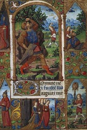 Handschrift: David und Goliath. Aus einem französ. Stundenbuch. Memb.II 176, 136v