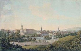 Georg Melchior Kraus: Stadtansicht von Weimar. Kupferstich, koloriert