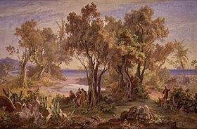 Friedrich Preller d.Ä.: Landschaft bei Askalon mit Blick über das Meer