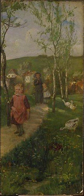 Johann Sperl: Frühlingslandschaft mit spazierengehender Mutter mit Kindern