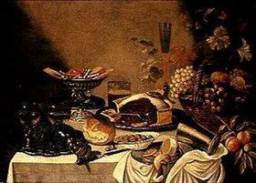 Pieter Claesz.: Stilleben mit Obstkorb und verschiedenen Süssigkeiten