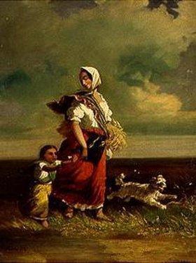 János Jankó: Bäuerin mit Kind auf dem Heimweg