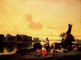 János Jankó: Hirten am Ufer eines Flusses