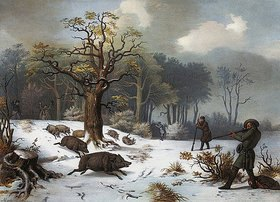 István Nagy: Winterliche Wildschweinjagd