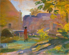 János Tornyai: Frau in rotem Kleid in einem Park in Szentendre