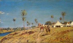 Holger H Jerichau: Beduinen auf Kamelen an einem Fluss
