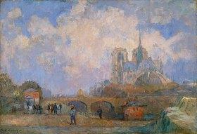 Albert Lebourg: Paris,Blick vom Quai de la Tournelle auf Notre Dame im Herbst