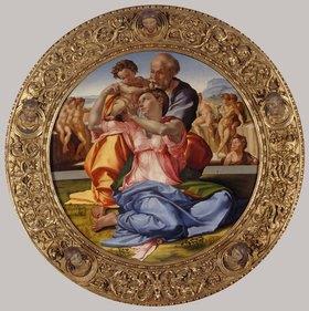 Michelangelo: Heilige Familie mit dem Johannesknaben (Tondo Doni)