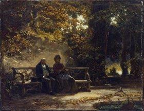 Carl Spitzweg: Das Paar auf der Bank (Ausruhende Spaziergänger)
