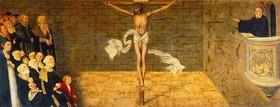 Lucas Cranach d.Ä.: Der predigende Martin Luther. Predella des Cranach-Altars in der Stadtkirche
