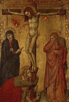 Sienesisch: Christus am Kreuz mit Maria, Johannes und Magdalena. Holz, 28,2 x 19,5