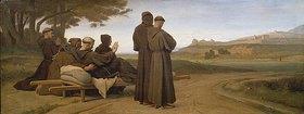 Léon Benouville: Der sterbende Franz von Assisi auf dem Wege nach Ste.-Marie-des Anges. Im Hintergrund Assisi