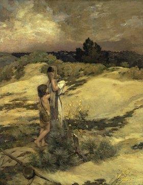 Jean-Charles Cazin: Hagar und Ismael in der Wüste. (o.J.)